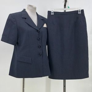 NYP suits 2 piece skirt suit set outfit striped 10